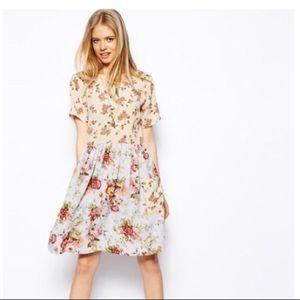ASOS contrast floral babydoll dress